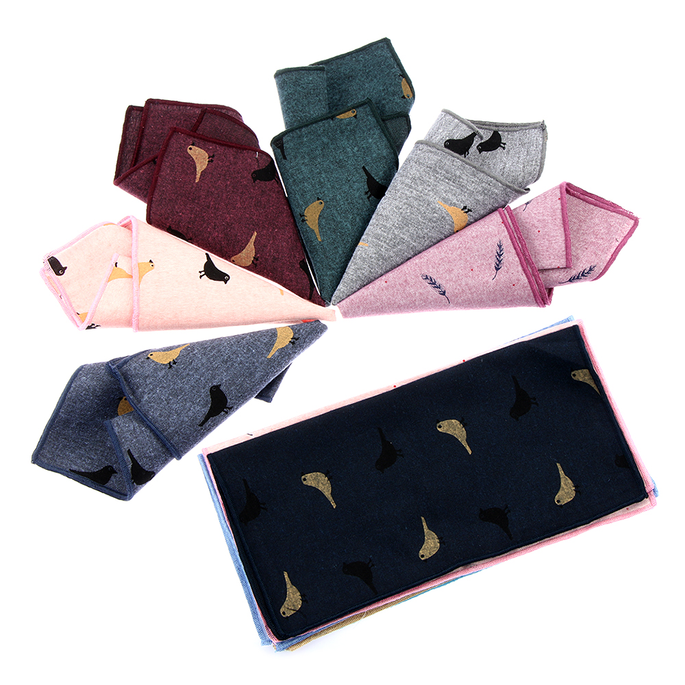1PC Men Business Casual Cotton Handkerchief Birds Feather Pattern Pockets Square Scarf Wedding Chest Towel Hankies Accessories