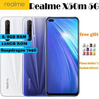 Перейти на Алиэкспресс и купить Новинка 6,57 дюйм6 ГБ/8 Гб RAM 128 ГБ ROM Realme X50m 5G мобильный телефон Snapdragon 76 5G 120 Гц Andorid 10 NFC Dual SIM смартфон с отпечатком пальца