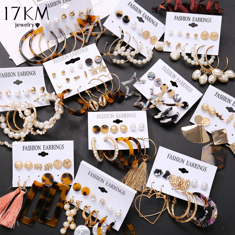 17KM Tassel Acrylic Earrings For Women Bohemian Earrings Set Big Geometric Drop Earring 2019 Brincos Female DIY Fashion Jewelry