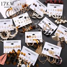 Pendientes de borla de acrílico Vintage de 17KM para mujer, conjunto de pendientes bohemios, Pendientes colgantes grandes, joyería de moda Brincos 2020 para mujer