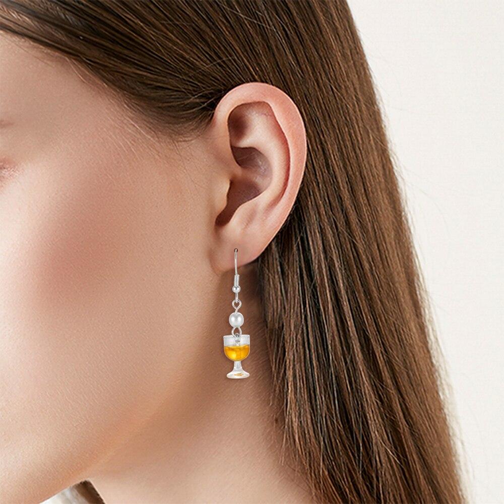 2019 New Funny Women Girls Pearl Wine Cup Goblet Earrings Handmade Drop Earrings Silver Earrings Gifts
