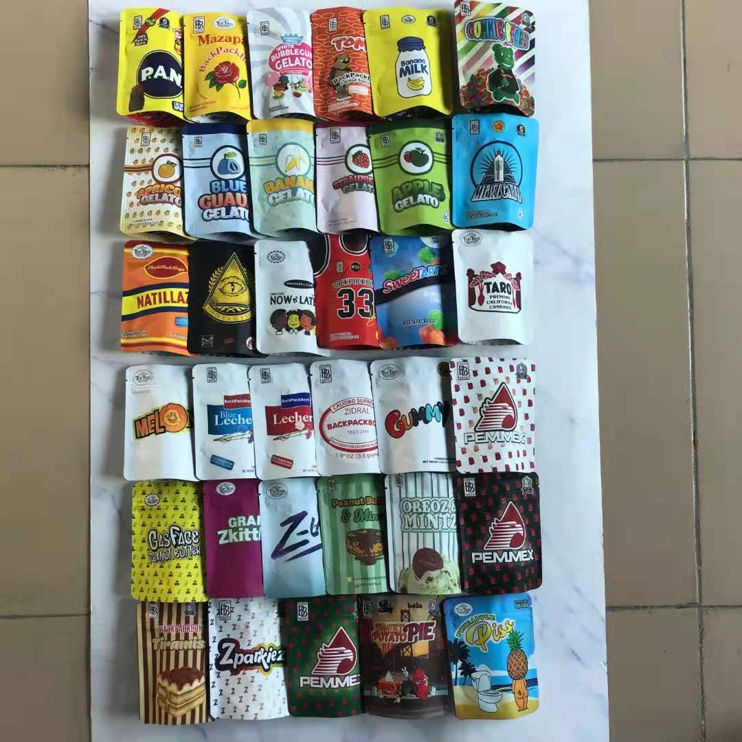 100 шт./лот в наличии, водонепроницаемые сумки из майлара с застежкой-молнией для хранения печенья, 3,5 г, рюкзак, сумки для мальчиков, плотные м...