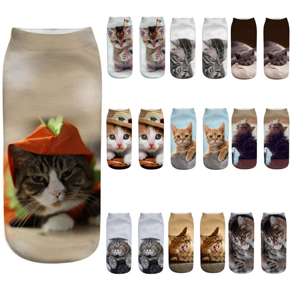 Women Fashion 3D Animals Cat Dog  Print Socks Pattern Kawaii Short Cotton Christmas Cute Low