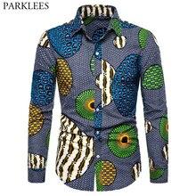 Afrika Balmumu 3D Baskı Moda Gömlek Erkekler 2019 Sonbahar Yeni Hip Hop Streetwear Afrika Giysi Erkek Slim Fit Uzun Kollu gömlek Erkek
