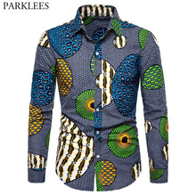 Afrikaanse Wax 3D Print Fashion Shirt Mannen 2019 Herfst Nieuwe Hip Hop Streetwear Afrikaanse Kleding Heren Slim Fit Lange Mouw shirt Mannelijke