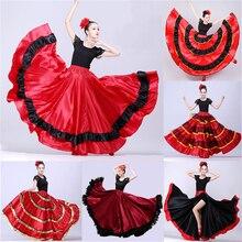 Девушка Костюмы для фламенко платье Испания живота Юбка для танцев танец живота, хорового пения или Бальные Для женщин Vestidos коррида 360/540/720 градусов костюм