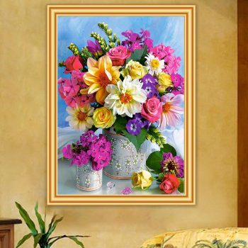 5D DIY Diamond Painting Flowers Vase Cross Stitch Kit Full Drill Diamond Embroidery Mosaic Rose Art Picture Home Decoration Gift