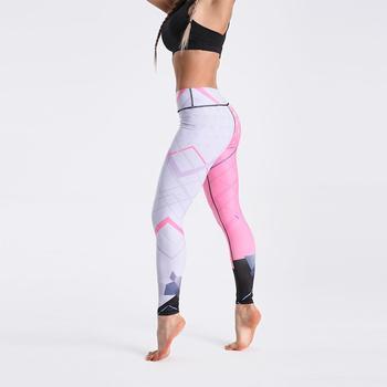 Qickitout 12% Spandex High Waist Digital Printed Fitness Leggings Push Up Sport GYM Leggings Women 22