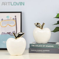 Modern Home Decor Accessories Ceramic Apple Figurines Ornaments Pottery And Porcelain White Apple Model Living Room Decoration