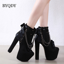 BYQDY Sexy Chains Luxury Woman Winter Boots Thick High Heels Platform Ankle Short Plush USA Motorcycle Booties Wholesale