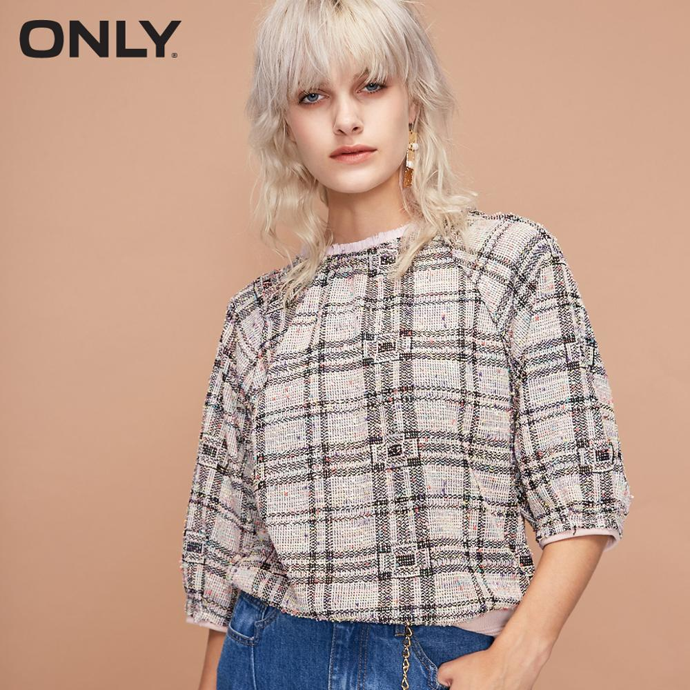 ONLY Women's Thin Loose Fit 3/4 Sleeves Checked Pullover Sweatshirt | 11919S513