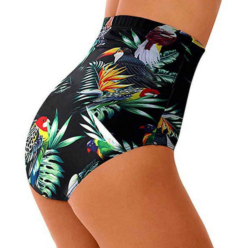 الصيف النساء عالية الخصر بيكيني السباحة ملخصات قيعان السراويل السراويل ملابس السباحة الزهور سلس شورتات للبحر زائد حجم S-XXL