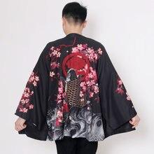 Kimono japonés tradicional para hombre, cárdigan, ropa de calle Harajuku, disfraz de Samurai Yukata, Haori, de talla grande