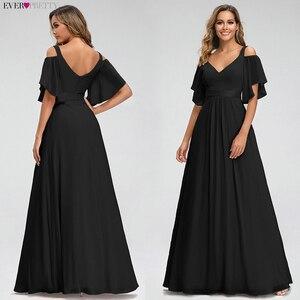 Image 3 - Ever Pretty Pink Bridesmaid Dresses A Line V Neck Off The Shoulder Elegant Long Dresses For Wedding Party Robe Mousseline 2020