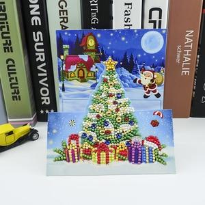 8 шт 5D DIY особой формы алмазов картина поздравительная открытка с трехмерной аппликацией в виде рождественские открытки на Рождество подарок Алмазная мозаика и вышивка      АлиЭкспресс