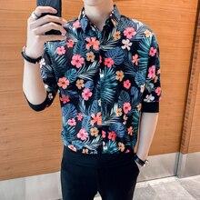 Camisas florales de estilo británico para hombre, camisa holgada de media manga con cuello vuelto, blusa de calle para hombre, gran oferta