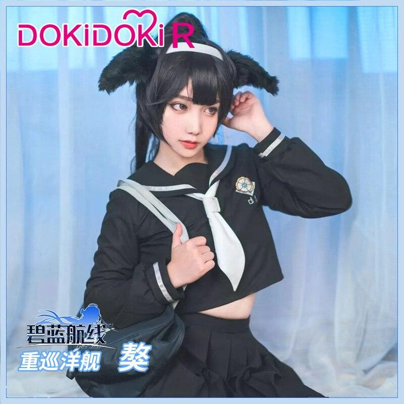 DokiDoki-R Game Cosplay Azur Lane IJN Takao JK Costume Women Azur Lane IJN Takao  Cosplay Costume Halloween 1