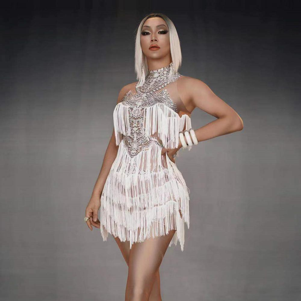 <font><b>Women</b></font> Sexy White Fringes Dress Stretch Sleeveless <font><b>Outfit</b></font> stage Sexy Skinny Costume <font><b>Festival</b></font> Birthday prom show One-piece Dress image