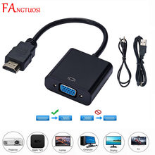 FANGTUOSI HD 1080P HDMI-compatible to VGA Adapter Male To Famale Converter Adapter 1080P Digital to Video Audio For PC TV Box