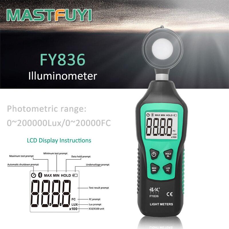 Цифровой светильник Mastfuyi FY836, люксовый ручной фотометр с ЖК-подсветкой, светильник