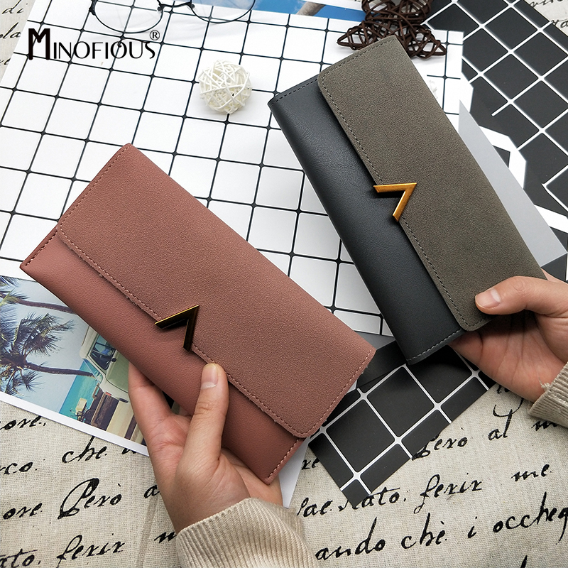 MINOFIOUS Money Wallet Purse Short Letter Patchwork Women Lady Solid Hasp Matte title=