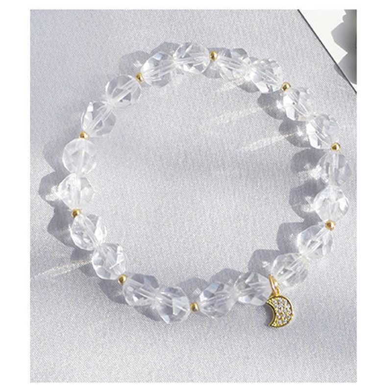 Mcllroy カップル愛好家のための距離白色結晶石のブレスレット女性のためのムーンスターアクセサリージュエリーバレンタインギフト