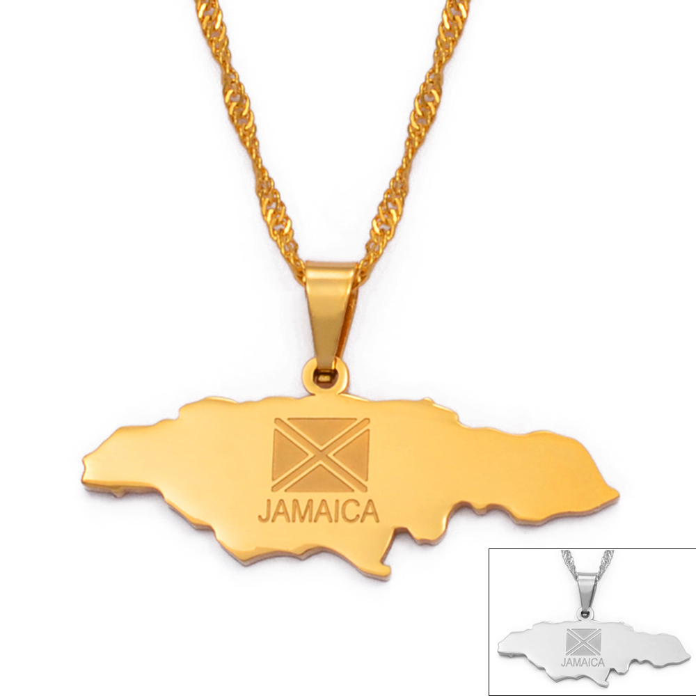 Anniyo ямайская карта кулон ожерелье ювелирный серебристый цвет/золотой цвет ювелирные изделия Ямайка #002021