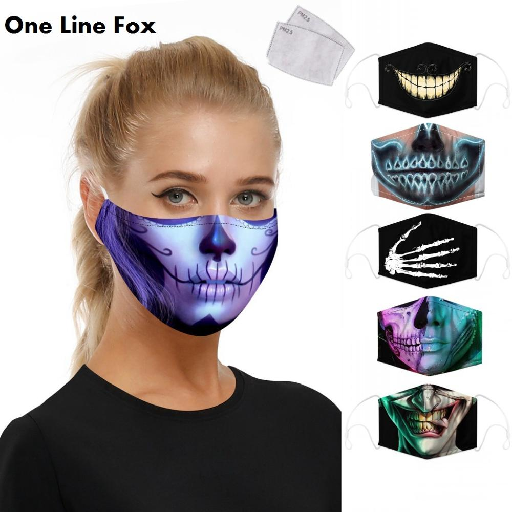 OneLineFox Skull Print Mouth Mask Washable PM2.5 Filter Mask Anti Dust Face Mask Reusable Mouth-muffle Bacteria Proof Flu Adult