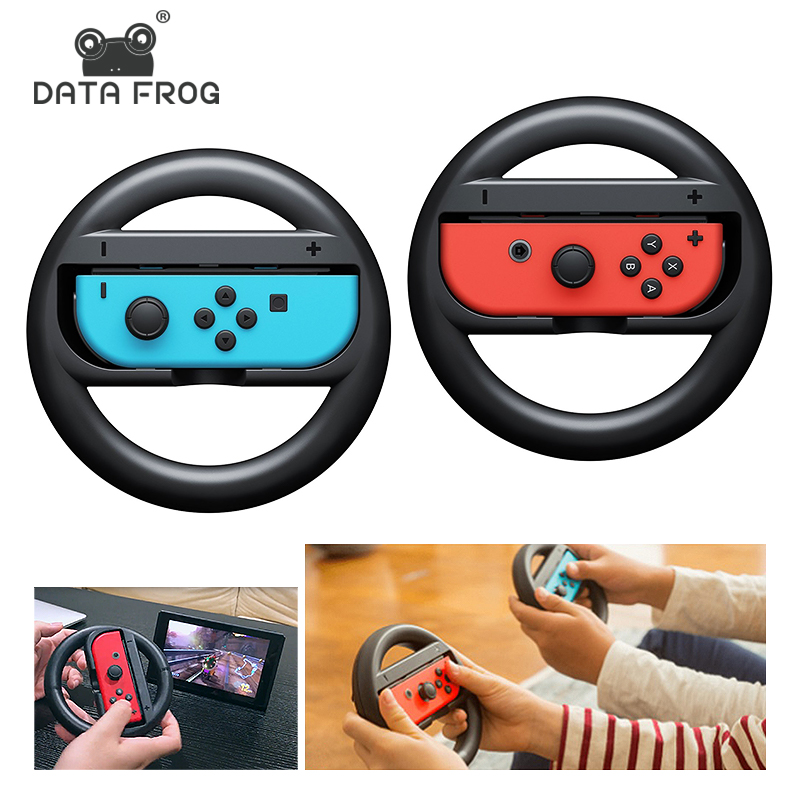 DATA FROG 2 Pcs Racing Game Steering Wheel For Nintend Switch Remote Helm Game Wheels For Nintendo Switch NS Controller image