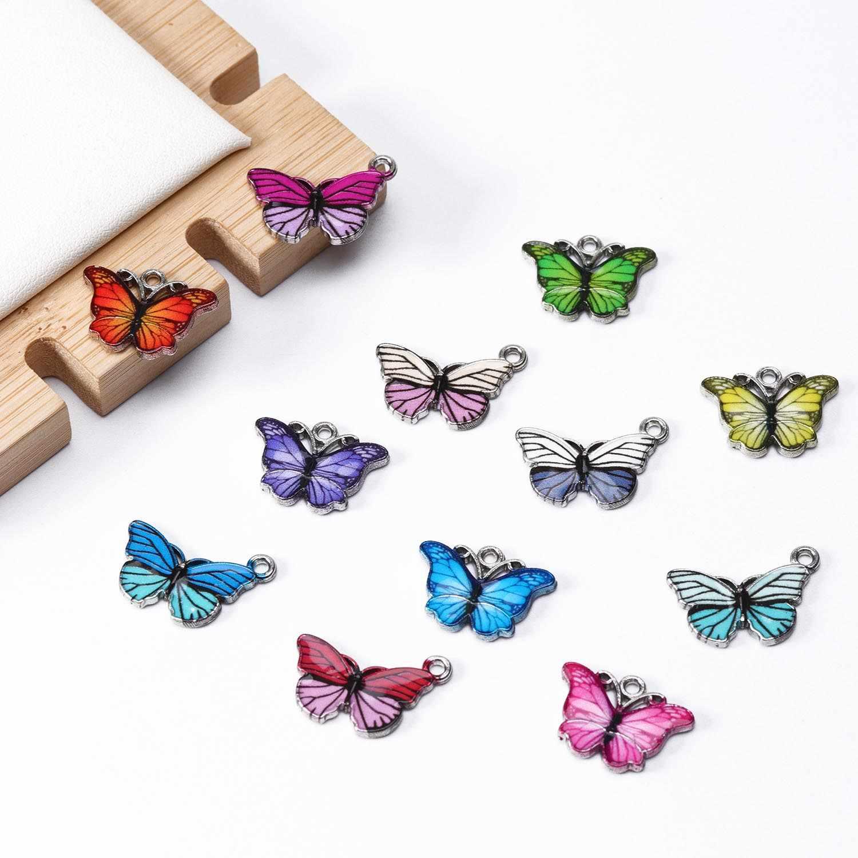 10 Buah Pesona Liontin Kupu-kupu Berwarna-warni Tetes Minyak Hewan Liontin untuk Kalung Anting-Anting Perhiasan Pembuatan Temuan DIY Supplier