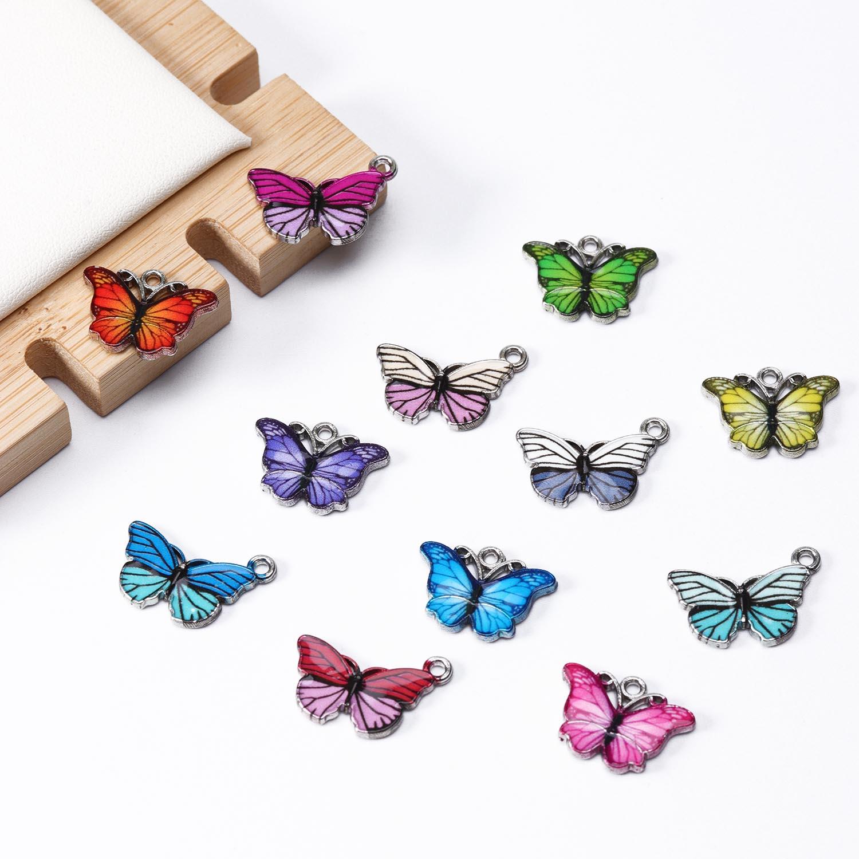 10 stück Charme Schmetterling Anhänger Bunte Tropfen Öl Tier Anhänger Für Halskette Ohrring Schmuck, Die Entdeckungen DIY Lieferant