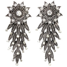 6.7cm Tibetan Silver Color Flower and Leaves With Crystal Long Vintage Earrings Jewelry For Women Fashion