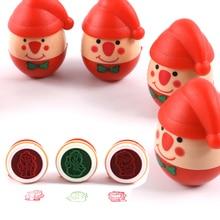 1 шт. стакан Санта Клаус мультфильм печать самочернильный штамп Пластиковые забавные цветные чернила ребенок DIY детские игрушки
