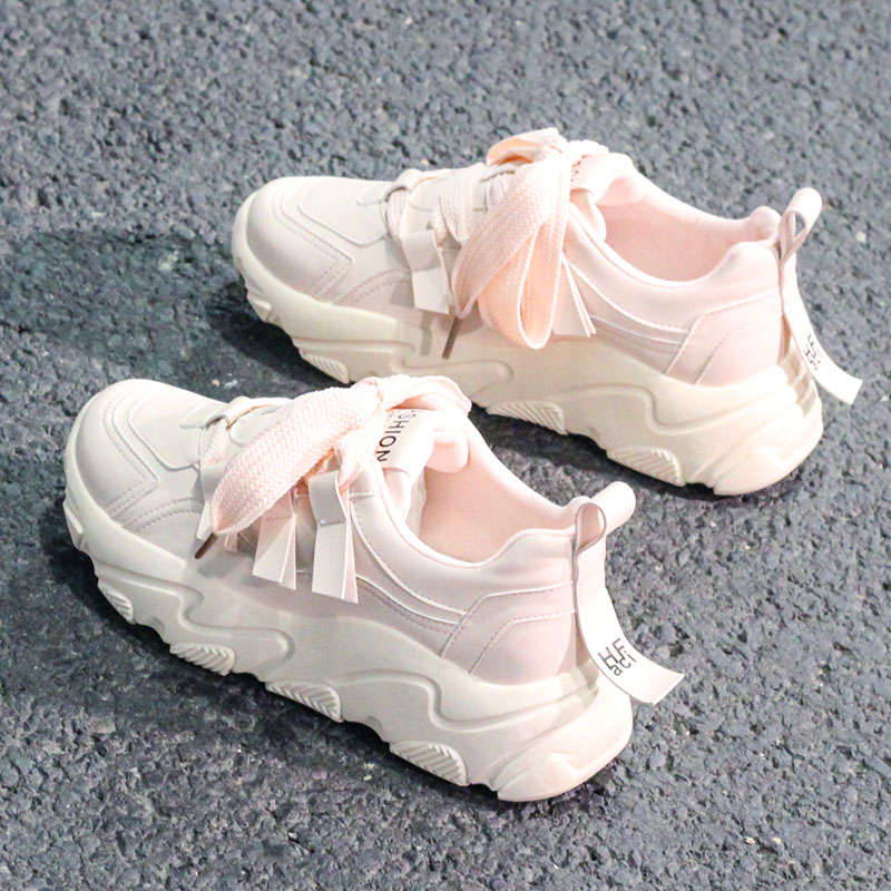 Women's Sneakers 2019 Fashionable White Platform Sneakers, Women's Branded Shoes With Tapering Massive Casual Shoes;