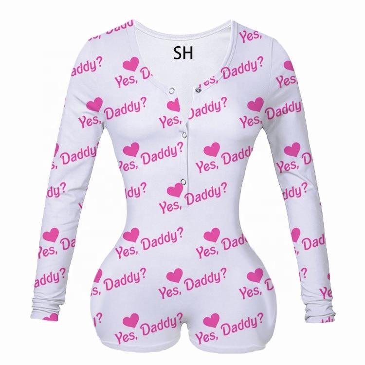 Sexy Women Print Elegant Sleepwear Pajamas Nightwear Pajama Long Sleeve Shorts Leotard Home Wear Tracksuit Buttons Bodysuit