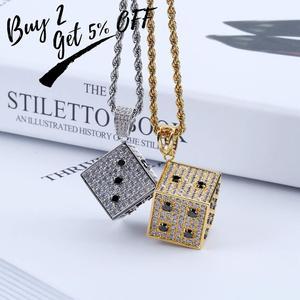 Image 2 - Topgrillz 光沢のある正方形のサイコロペンダントネックレス銅金銀色アイスアウト立方ジルコン男性ヒップホップジュエリーストリート danc ギフト