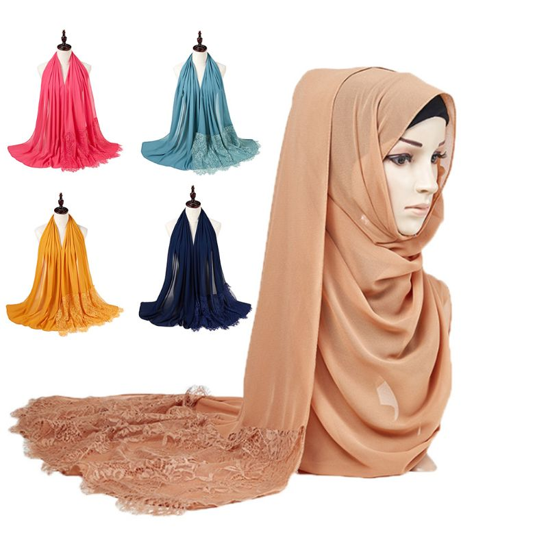 Women Chiffon Muslim Hijab Wrap Eyelash Floral Lace Patchwork Islamic Head Covering Scarf Shawl Solid Color Long Blanket
