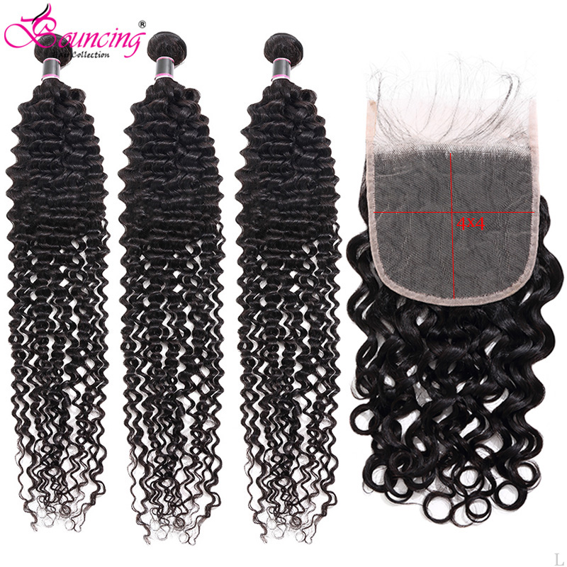 Water Wave Human Hair Bundles With Closure Brazilian Remy Human Hair Natural Black Color Thick End Hair Bundles With Closure