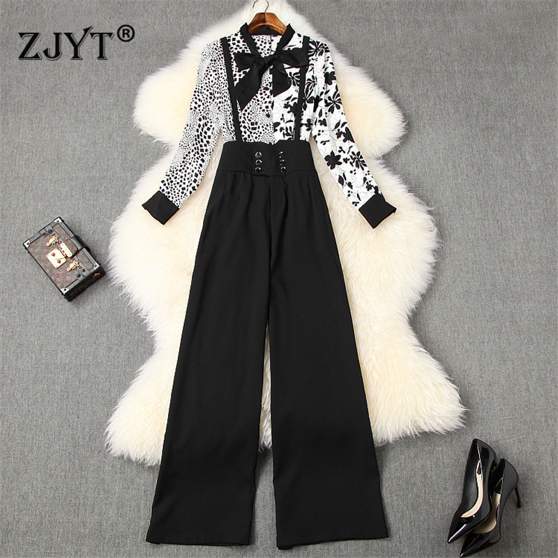 High Street Fashion Women Pants 2Piece Set Spring 2020 New Office Lady Outfits Floral Print Chiffon Blouse And Pants Suit Sets