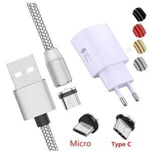 Image 1 - Cable magnético tipo USB C para móvil, Cable de carga rápida Micro USB para Huawei Y3 Y6 Y5 2017 II A7 J2 PRO 2018 Grand prime pro G530