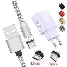 Từ Tính Cáp USB Loại C Micro USB Sạc Nhanh Cáp Sạc Cho Huawei Y3 Y6 Y5 2017 II A7 J2 pro 2018 Grand Prime Pro G530