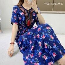 Wayoflove moda floral praia vestido feminino 2021 casual vintage borla formatura vestidos longos verão plus size cintura alta o pescoço vestido