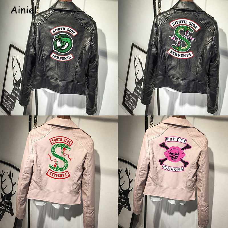 Riverdale Jacket Southside Snake Poison South Side Serpents Black PU Leather Coat Pink Streetwear Clothes Embroidery Stickers