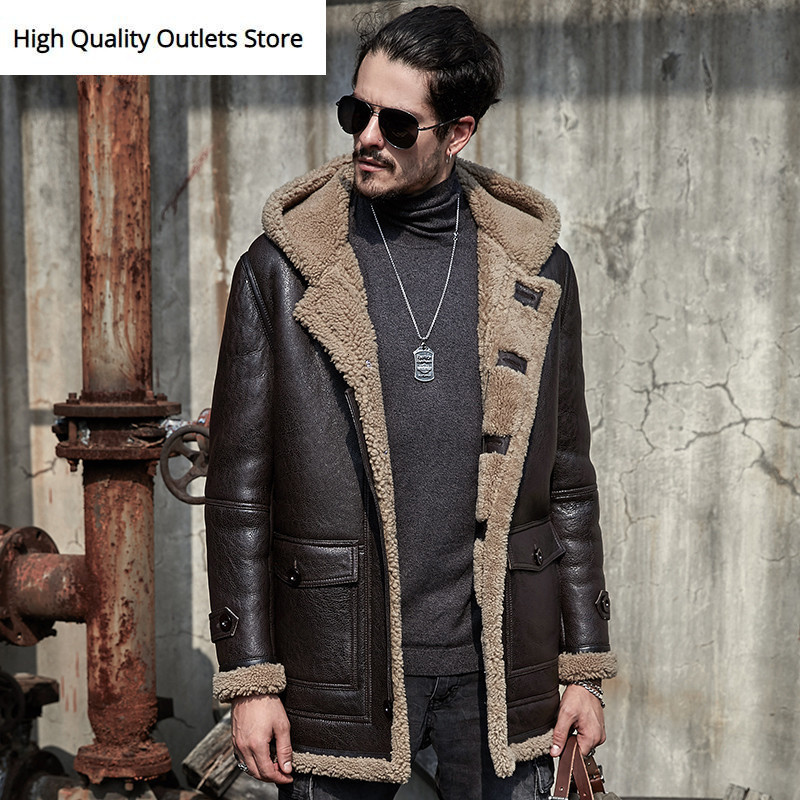 Sheepskin Jacket Men Fur Coat Genuine Leather Jackets Outerwear Original Ecological Shearling Mens Coats Retro Parka Coldproof