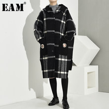 [EAM] Loose Fit Black Pocket Plaid Big Size Woolen Coat Parkas New Long Sleeve Women Fashion Tide Autumn Winter 2019 1K67201(China)