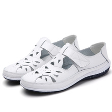 Sandalias romanas de cuero partido para mujer, zapatos planos informales con fondo suave, de talla grande SH072301