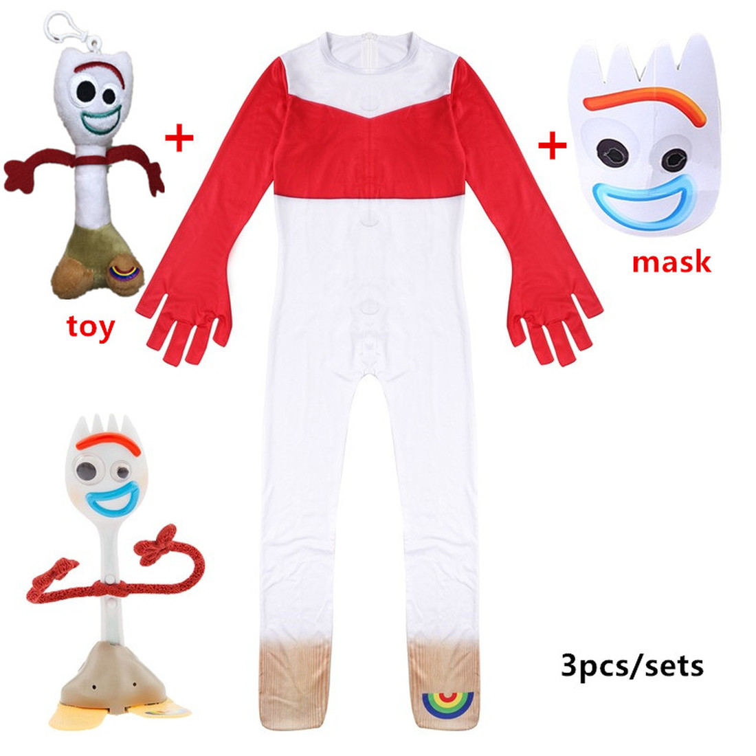New Toy Story 4 Forky Woody Jessie Duke Cosplay Costume Kid Jumpsuit Outfits Mask For Child Children Halloween Carnival Costumes