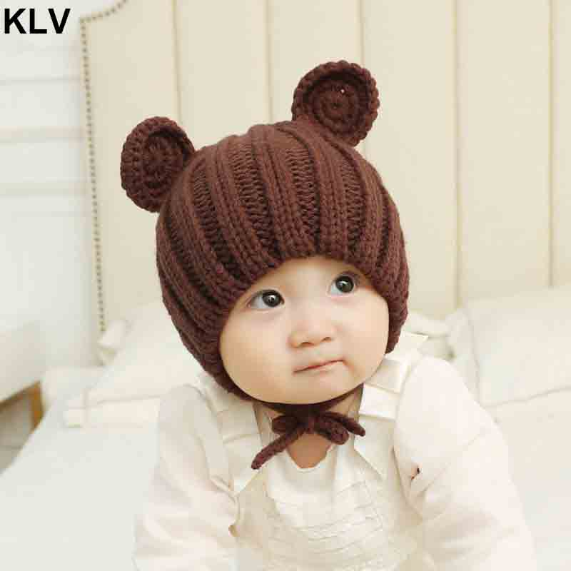 Knitted Winter Baby Hat with Ears Cartoon Lace-up Children Kids Bonnet Cap