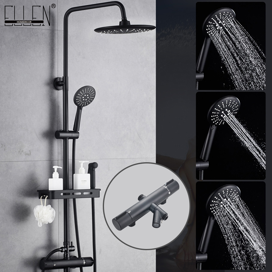 Thermostatic Shower Faucets Set Black Wall Mounted Rain Shower Faucet With Storage Shelf  Bath Mixer Tap Hot Cold  EL3905