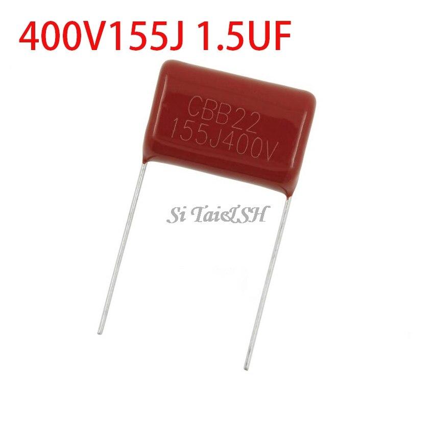 10PCS 400V155J 1.5UF Pitch 20MM 400V 155 1500nf CBB Polypropylene Film Capacitor